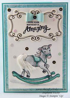 www.thecraftythinker.com.au, Little Cuties, baby card, Embellishments, Rocking Horse, #thecraftythinker, Stampin Up