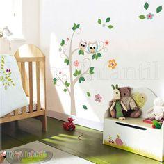 Adesivo de parede para decoração de quarto de bebê e infantil    Corujinhas, corujas, árvores, flores, folhas, galhos, pássaros, passarinhos   SP,BH, MG, RJ, DF