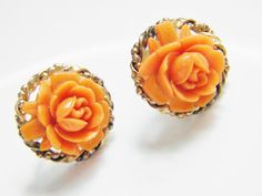 Vintage Coral Rose Molded Celluloid Earrings by GrandVintageFinery, $18.95