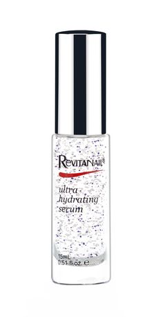 Revitanail Ultra Hydrating Serum is a serum that gives nails and cuticles a hydration boost. It helps repair dry, brittle nails and flaking or splitting cuticles caused by regular polish use and gel or acrylic nails. The formula is enriched with two types of millicapsules that provide intense hydration for restored moisture and increased nail flexibility, as well as vitamin E, jojoba and L22. It features a coconut scent.
