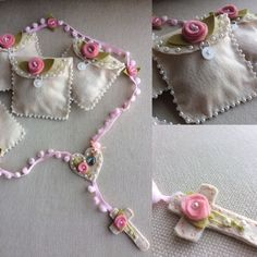 Creative Embroidery, Hand Embroidery Designs, Felt Crafts, Diy And Crafts, Boy Baptism Centerpieces, Catholic Crafts, Crochet Necklace, Baby Shower, Mothers Day Crafts