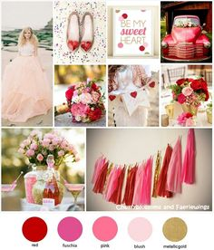 Color Series #10 : Red + Pink + Gold by CBFWblog #weddingcolor