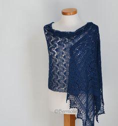 Lace crochet shawl Blue shawl blue lace shawl blue by Berniolie