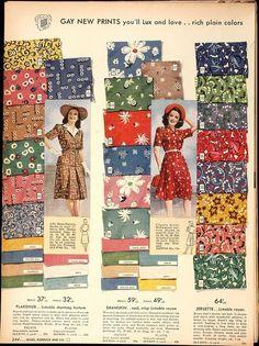 1940s fabric samples color photo print ad dress day rayon novelty print models