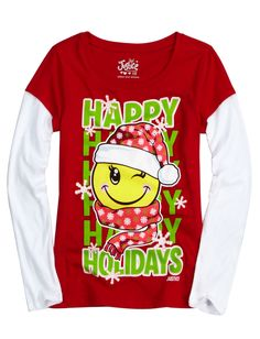 Holiday Graphic Tee | Long Sleeve | Tops & Tees | Shop Justice  size 16