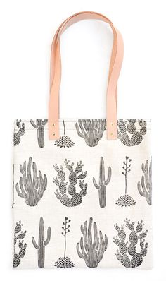 Cactus Print Linen Tote <3