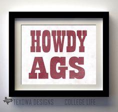 Texas A & M  Aggies  Howdy Ags Print