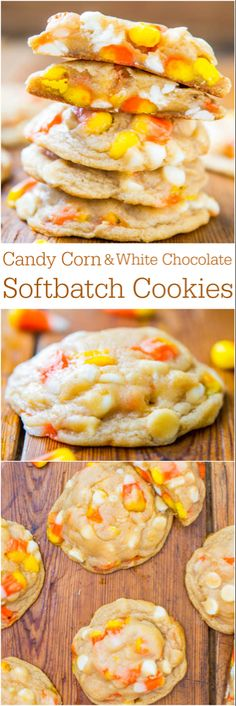 Chocolate Candy Corn Cookies Give the chocolate chips a rest this Halloween. Spice up your cookies with candy corn and white chocolate chips!Give the chocolate chips a rest this Halloween. Spice up your cookies with candy corn and white chocolate chips! Köstliche Desserts, Delicious Desserts, Dessert Recipes, Yummy Food, Party Recipes, Hallowen Food, Halloween Desserts, Halloween Treats, Halloween Cookies