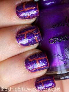 Fiery mani topped with China Glaze Fault Line crackle & Claire's Glow In The Dark glitter polish Crackle Nails, Wow Nails, China Glaze, Unique Dresses, Glow, Nail Polish, Glitter, Makeup, Fingers