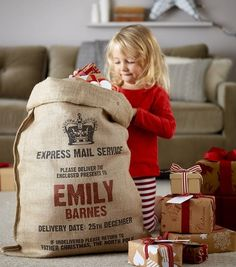 cute idea. santa mail sack for kids' christmas gifts