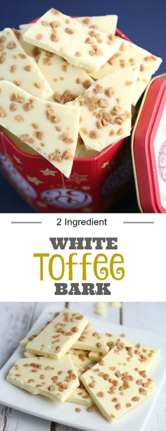 White Toffee Bark recipe using only two CHIPITS ingredients. Easy holiday baking that can fit any busy schedule.