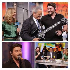 Chris Young came to perform on the right day: He got to meeting Charlie Gibson AND try stuffed bagel balls on #GMALive!