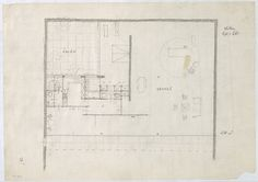 Ludwig Mies van der Rohe. Hubbe House Project, Magdeburg, Germany, Floor plan sketch. 1934-1935