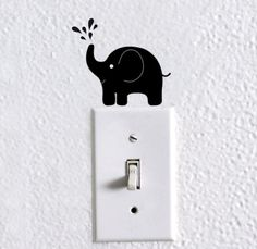 elephant light switch decal elephant by dadavinylsanddesigns Simple Wall Paintings, Wall Painting Decor, Diy Painting, Wall Art Designs, Paint Designs, Photo Wall Decor, Kids Room Wall Decals, Wall Drawing, Cat Wall