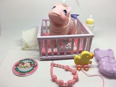 Vintage MLP G-1 Hasbro My Little Pony ~ BABY COTTON CANDY & BABY ACCESSORY LOT