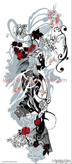 koi and dragon tattoo designs Koi Dragon Tattoo, Dragon Tattoo Drawing, Dragon Drawings, Tattoo Drawings, New Tattoo Designs, Dragon Tattoo Designs, Trendy Tattoos, Love Tattoos, Plant Tattoo