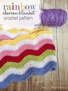 rainbow chevron crochet blanket by Daisy Cottage Designs, via Flickr ......only in grey and white, w/ a pink edge