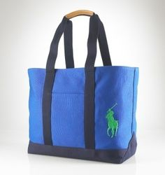 Big Pony Canvas Tote In Blue $51.29