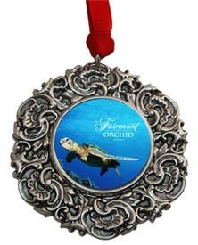 Custom Christmas Ornament with the Fairmont Honu Turtle  Great Hotel gift designed by Classic Legacy.