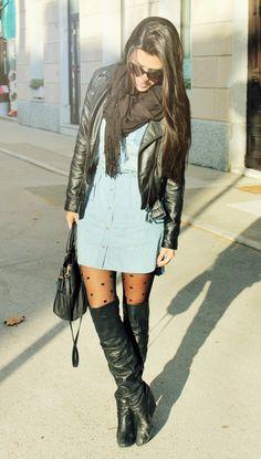Chambray dress & leather