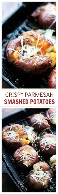 Crispy Parmesan Smashed Potatoes – Deliciously cheesy potatoes that are incredibly crispy on the outside, but soft and tender on the inside.