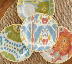 Ikat Salad Plate, Set of 4 | Pottery Barn