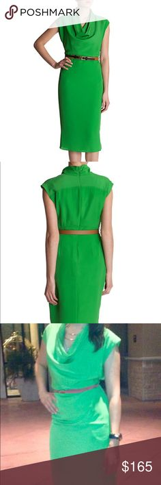 Ted Baker Bigua Cowl Neck Dress - Worn once Ted Baker London Bigua Cowl Neck Dress in Green With original belt and garment bag Worn once - In excellent condition  Belt attached, Belt loops, Double buckle fastenings, Invisible zip on back, Under lining, Capped sleeves, Short slits on both sides. Ted Baker Dresses