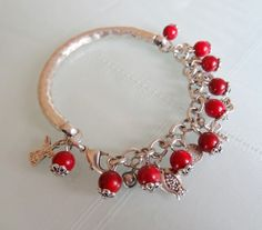 Red Coral  Silver Bracelet by sevinchjewelry on Etsy, $28.00