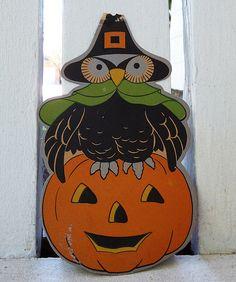 Vintage Halloween Decorations--Pilgrim Owl Die Cut | by MissConduct*