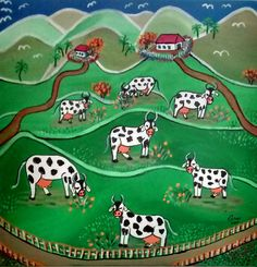 Vacas no pasto - Acrílico sobre tela