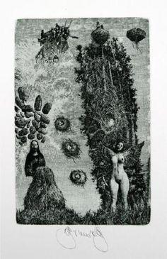 Summer Image III - Albin Brunovsky Completion Date: 1979 Style: Surrealism Genre: illustration Bratislava, La Madone, Alchemy Art, Baroque Art, Cool Typography, Arte Horror, Art Database, Visionary Art, Linocut Prints