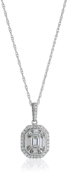 14K White Gold Composite Emerald Cut Pendant Necklace (1cttw), 18' ** Find out more about the great product at the image link.