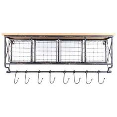 Black Metal & Wood Shelf with Baskets & 8-Hooks. Yeaaaayyy, Hobby Lobby still carries this! Plans for the ultimate coffee station can move forward!
