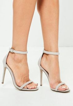 94de46374 Missguided Grey Strap Barely There Heels Nude Shoes