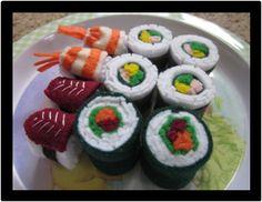 DIY: felt sushi Tutorial  : Waldorf inspired toy: pretend food. Crafts