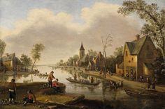Joost Cornelisz. Droochsloot  1586 Utrecht - 1666 Utrecht  Dorflandschaft mit Fluss