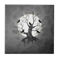 Raven Tree with Moon Tile