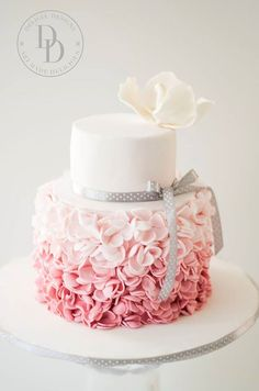 An ombre pink petal ruffle cake for a birthday celebration. - An ombre pink petal ruffle cake for a birthday celebration. Pretty Cakes, Cute Cakes, Beautiful Cakes, Amazing Cakes, 15th Birthday Cakes, Birthday Cake Girls, Birthday Celebration, 21st Cake, 80th Birthday