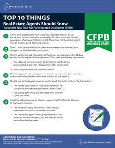 CFPB - Agent Need to Know - Contact your Account Executive, Amy Craft, if you have any questions - 832-727-2102