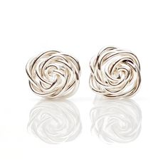 Rose Studded Earrings Sterling Silver by hoopsbyhand on Etsy
