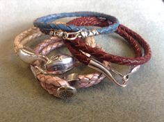 Rondgevlochten runderleer armbanden