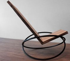 nowy design - fotel bujany Andre Joyau's Bascule Chair is a rocking chair in reclaimed maple with a blackened-steel base. Funky Furniture, Classic Furniture, Unique Furniture, Industrial Furniture, Furniture Design, Furniture Stores, Furniture Ideas, Cheap Furniture, Furniture Makeover