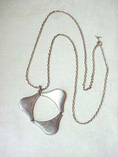 Vintage Georg Jensen Denmark Modernist Sterling Silver Pendant Necklace # 138 #GeorgeJensen