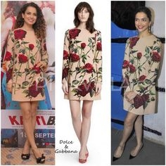 At the 'Tamasha' success party last night, Deepika Padukone was seen wearing a rose floral print dress by Dolce and Gabbana - that she styled with Dolce earrings, black flats and a matching Saint Laurent bag. If you may recall, the dress was first worn by Kangana during 'Katti Batti' promotions