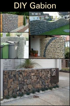 DIY Gabion — Rock Walls Without Concrete Build Gabion walls and fences for an impressive outdoor are Gabion Wall Design, Fence Design, Patio Design, Garden Design, Gabion Stone, Gabion Retaining Wall, Backyard Fences, Backyard Landscaping, Pony Wall