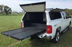These new bed shells will protect valuable tools and equipment from the elements and from walking off while your work truck is left unattended. New Trucks, Custom Trucks, Chevy Trucks, Pickup Trucks, Truck Shells, Truck Camper Shells, Truck Bed Toppers, Wood Burning Tips, Camper Tops