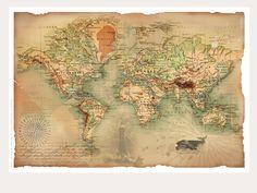 """Poster """"Weltkarte"""" im Vintage-Style..."""