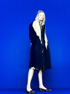J.Crew Collection: shearling coat and Harper calf hair flats