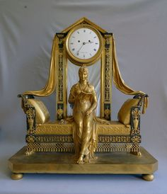 Extraordinary Antique French Empire mantel clock of Madame Recamier signed Vaillant 1805  | The House of Beccaria