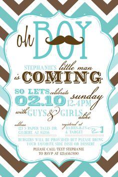 Mustache Co-Ed Baby Shower Invitations. $35.00, via Etsy.